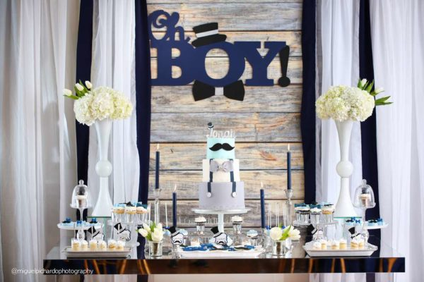 Sophisticated-Mustaches-And-Bows-Baby-Shower-Treat-Table