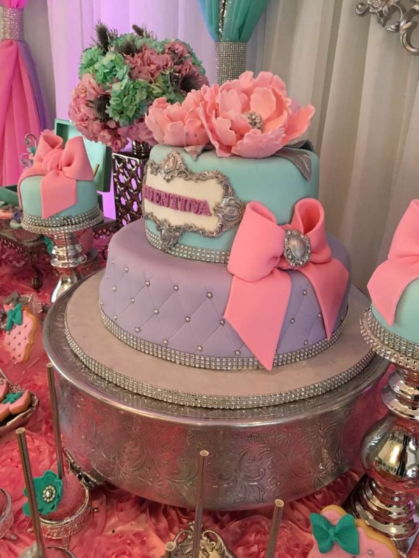 Teal-And-Pink-Modern-Chic-Baby-Shower-Big-Cake