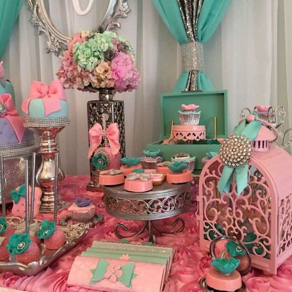 Teal-And-Pink-Modern-Chic-Baby-Shower-Colorful-Flowers