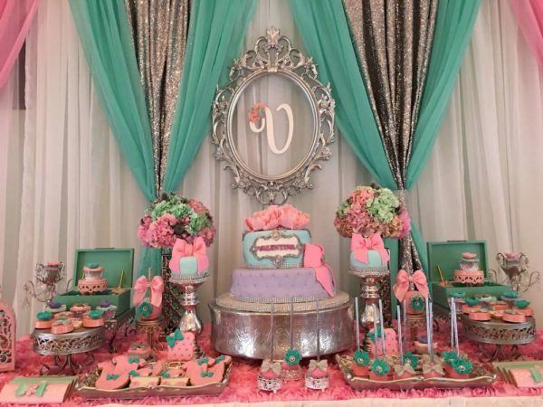 Teal-And-Pink-Modern-Chic-Baby-Shower-Dessert-Table