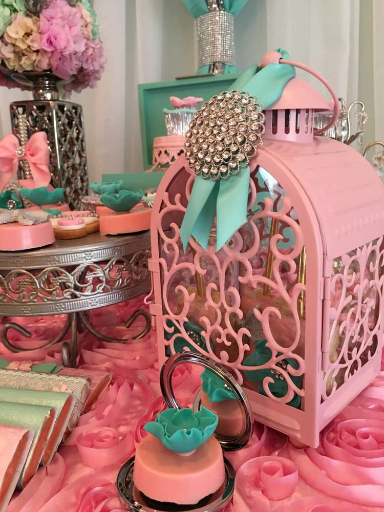Teal And Pink Modern Chic Baby Shower Baby Shower Ideas 4U