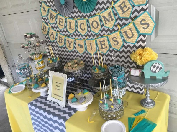 Chevron-Elephant-Baby-Shower-Gray-Yellow-Teal-Tones