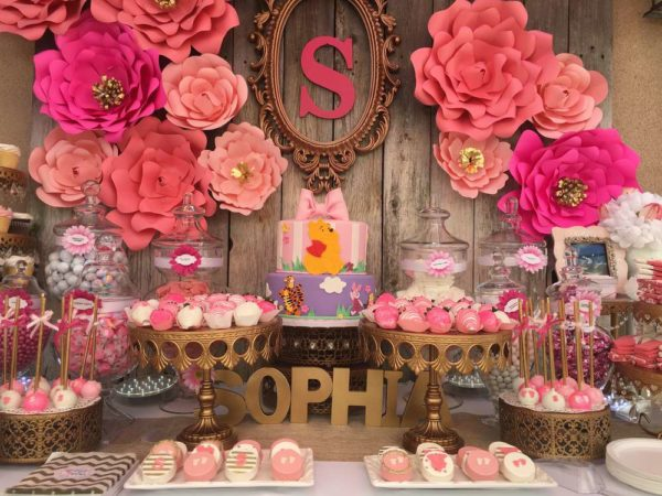 Elegant-Pink-Flower-Baby-Shower-Paper-Flowers