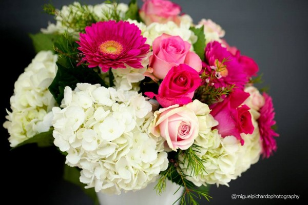 Pink-And-Black-Floral-Baby-Shower-Colorful-Flowers