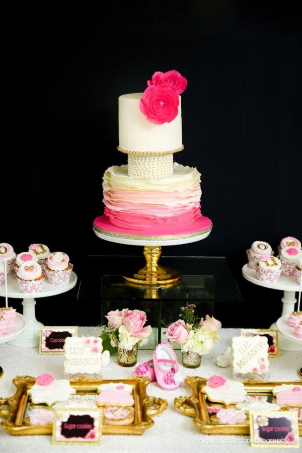 Pink-And-Black-Floral-Baby-Shower-Desserts
