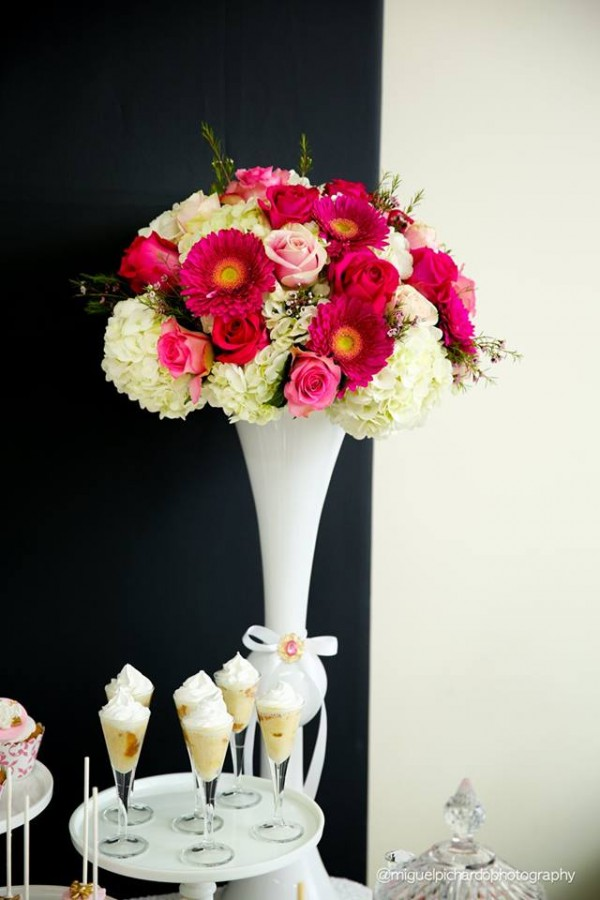 Pink-And-Black-Floral-Baby-Shower-Flowers