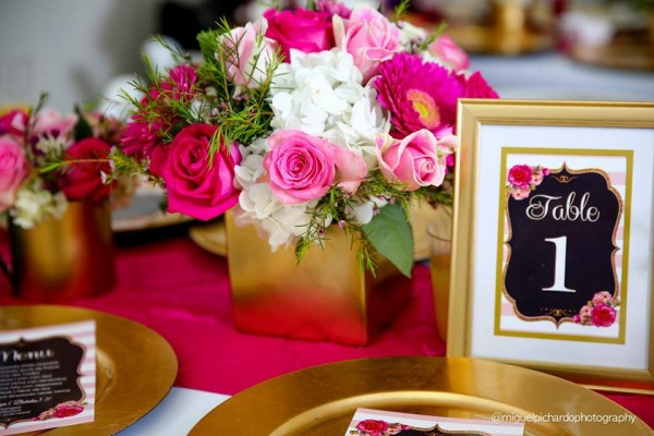 Pink-And-Black-Floral-Baby-Shower-Guest-Tables