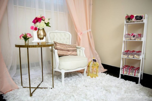 Pink-And-Black-Floral-Baby-Shower-Seating-Area