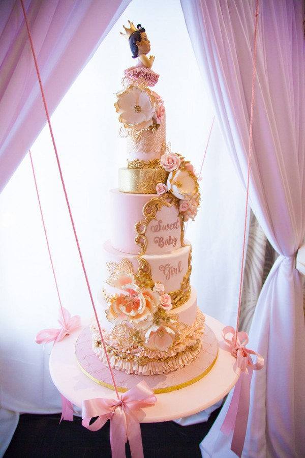 Pink-And-Gold-Tutu-Cute-Baby-Shower-Cake