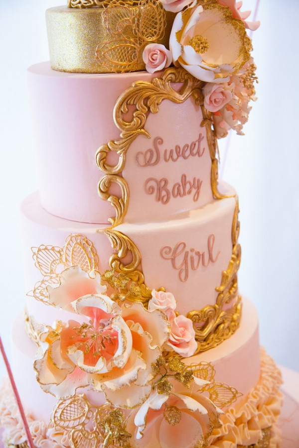 Pink-And-Gold-Tutu-Cute-Baby-Shower-Cake-Detail