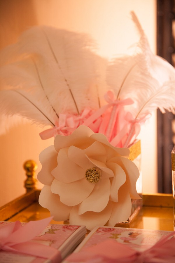 Pink-And-Gold-Tutu-Cute-Baby-Shower-Flower-Art
