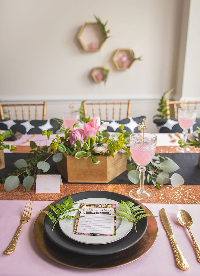 Whimsical Geometric Baby Shower Pink And Florals