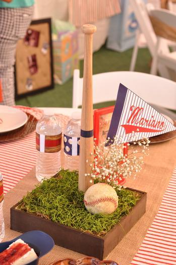 baseball bat, flag and ball centerpiece