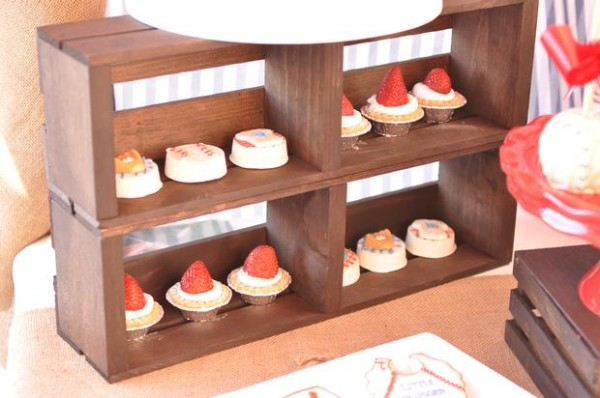 wooden crates displaying treats
