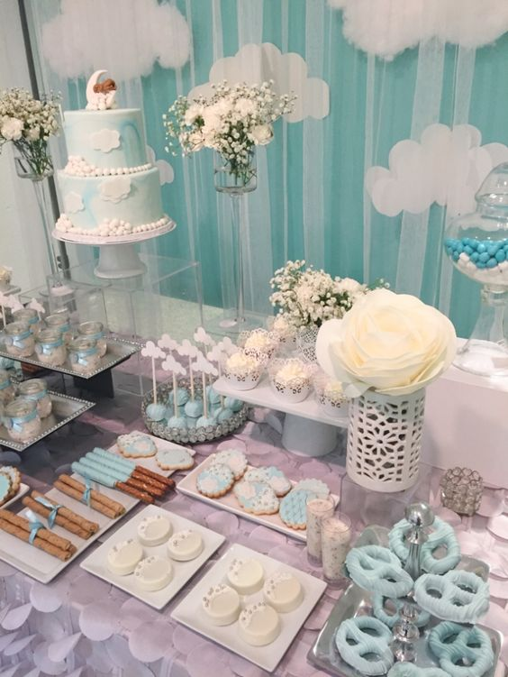 Shimmering-Heaven-Sent-Baby-Shower-Dessert-Table