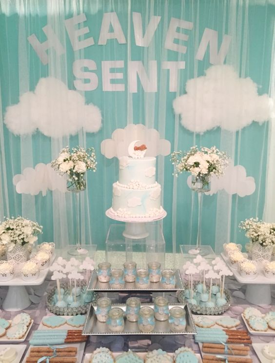 Shimmering-Heaven-Sent-Baby-Shower-Snack-Table