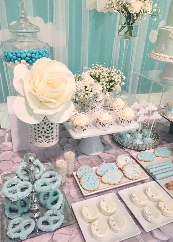 Shimmering-Heaven-Sent-Baby-Shower-Treat-Table