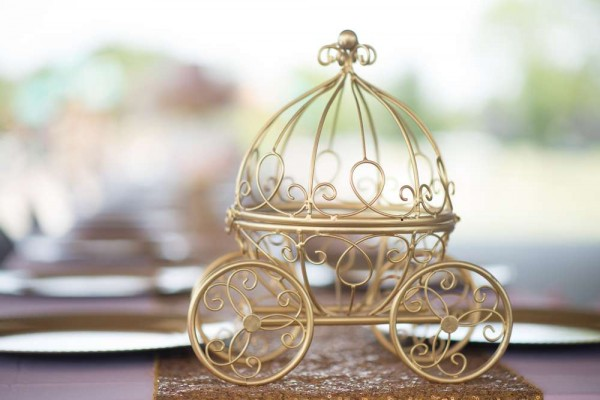 Shimmering-Pink-And-Gold-Baby-Shower-Carriage