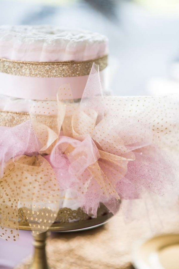 Shimmering-Pink-And-Gold-Baby-Shower-Diaper-Cake