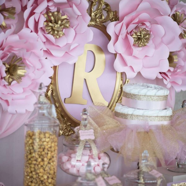 Shimmering-Pink-And-Gold-Baby-Shower-Flower-Backdrop
