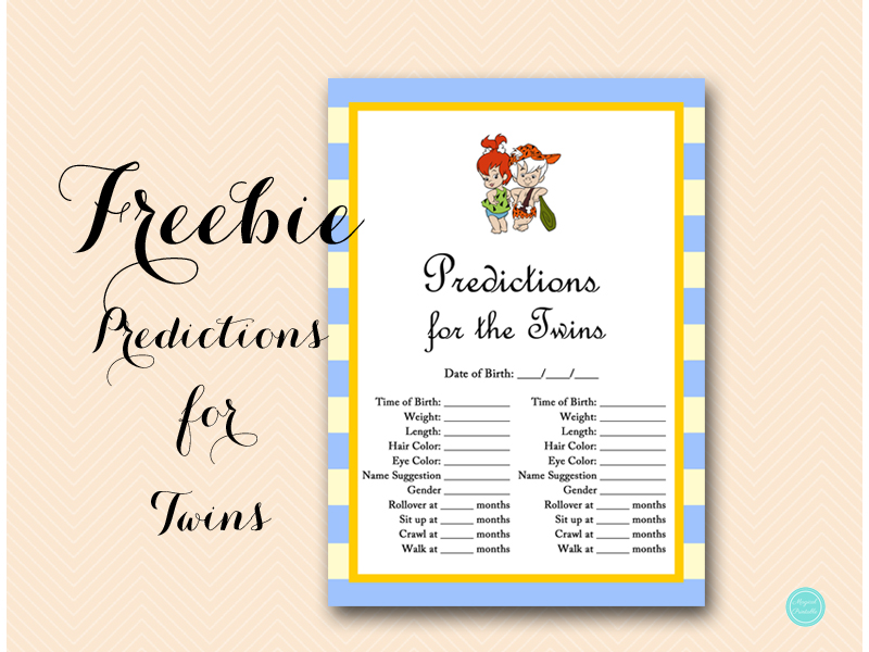 Free Predictions for the Twins - Baby Shower Ideas - Themes