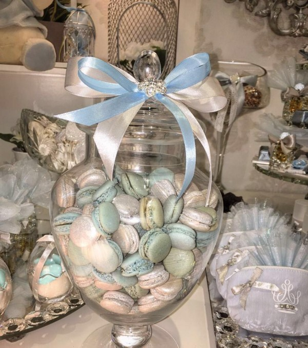 Charming-Silver-Blue-Sky-Baby-Shower-Macarons