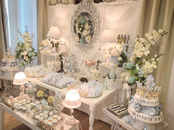 Charming-Silver-Blue-Sky-Baby-Shower-Treat-Table