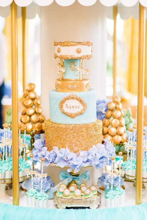Golden Carousel Babyshower-Layered-Cake