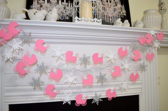 baby-shower-garland-baby-carriage-snowflakes-winter-baby-decorations