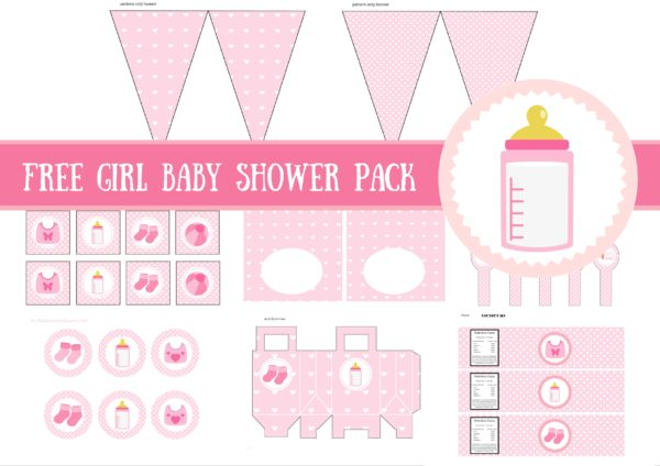 free baby girl baby shower printable package