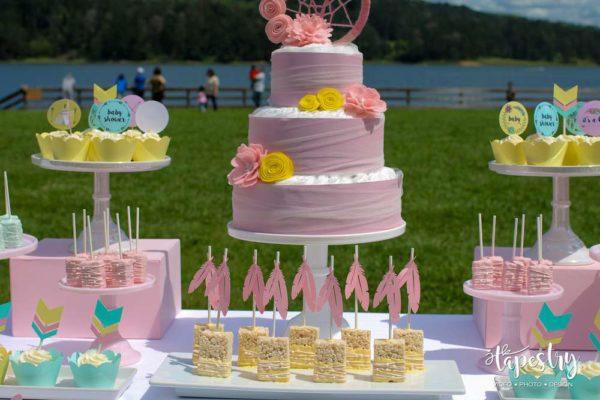 springtime-boho-baby-shower-cake