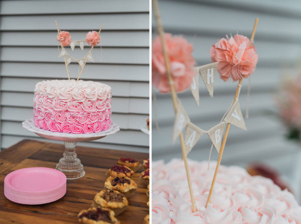 Charming Backyard Baby Q Shower cake with poms
