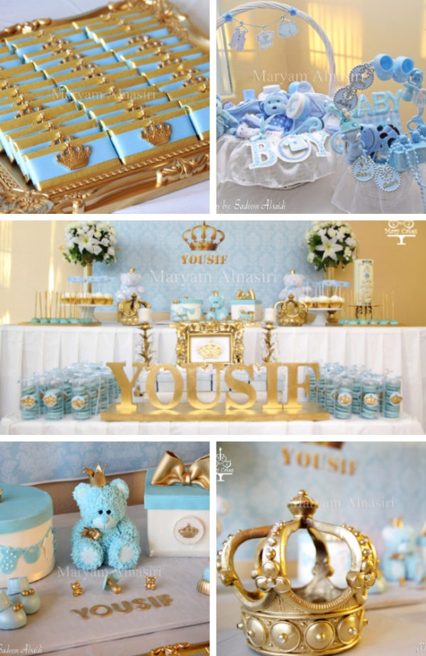 Sky Blue and Gold Royal Baby Shower decorations