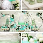Flowery Green Mint And White Baby Shower