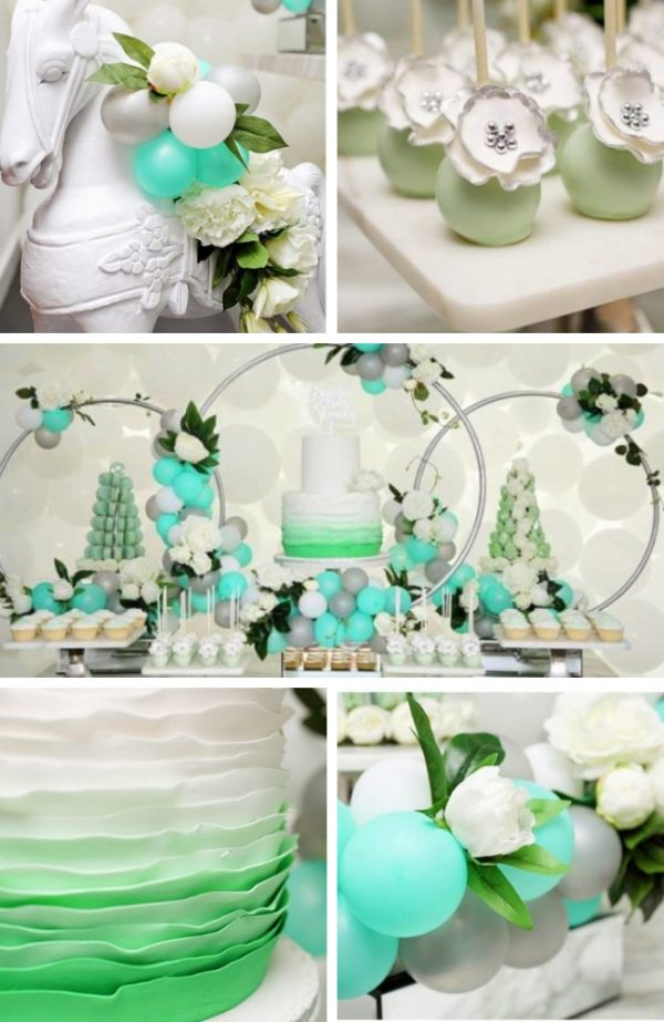 Flowery Green Mint and Silver Baby Shower dessert table