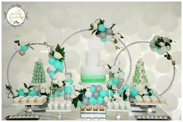 flowery-green-mint-and-white-baby-shower-dessert-display