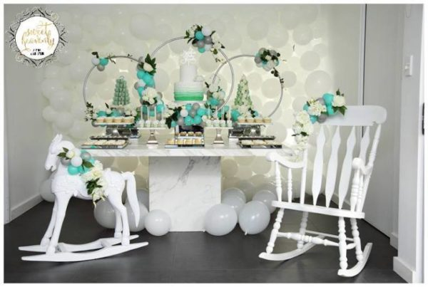flowery-green-mint-and-white-baby-shower-dessert-table