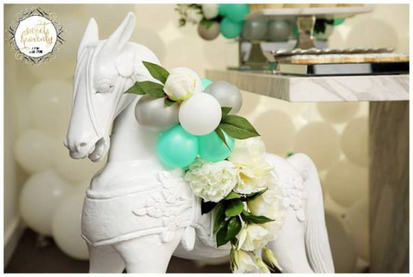 flowery-green-mint-and-white-baby-shower-horse-decor