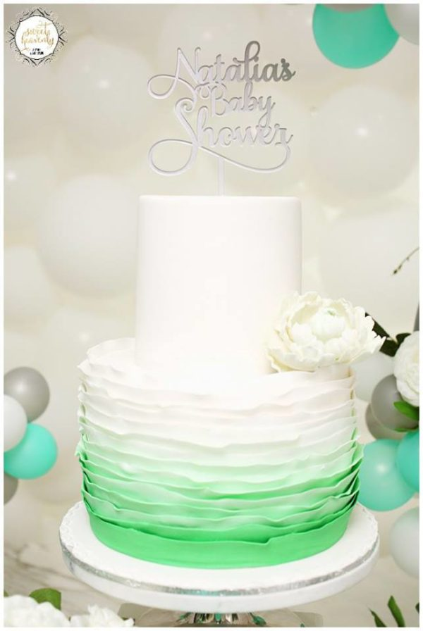 Flowery Green Mint And White Baby Shower Baby Shower