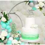 Flowery Green Mint and Silver Baby Shower