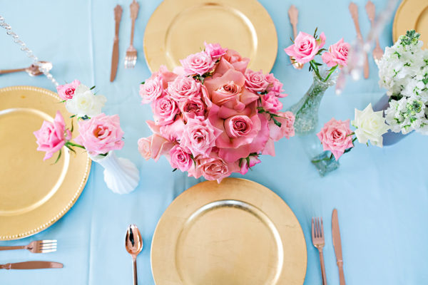 Beautiful table setup, gold, pink and blue