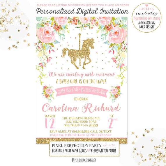 carousel-baby-shower-invitation-pink-gold-floral-carousel-baby-shower