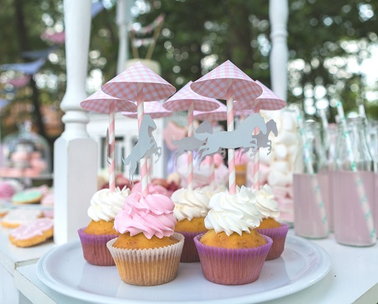 carousel baby shower cupcake topper ideas