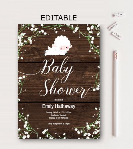 Editable baby breath little lamb baby shower invitation