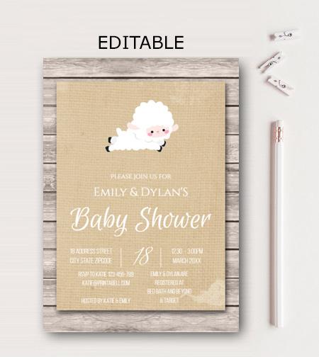 Editable sunshine little lamb baby shower invitation