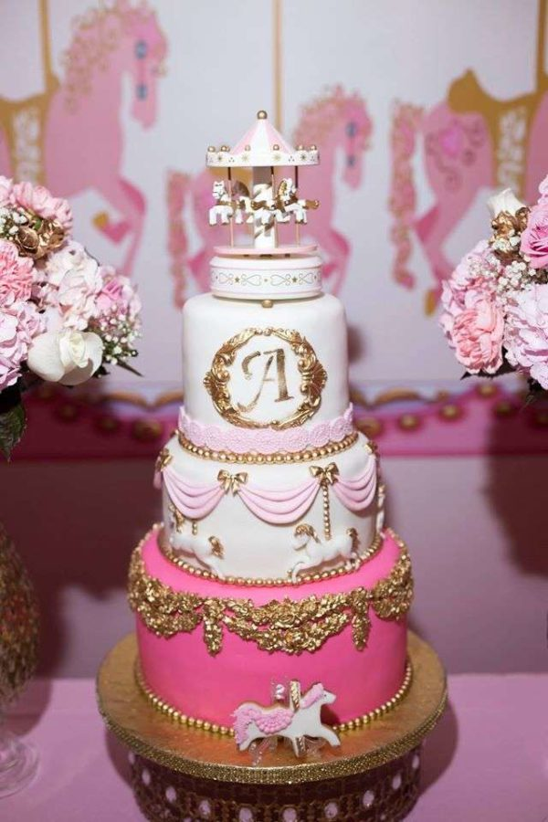 carousel-in-pink-baby-shower-tiered-cake