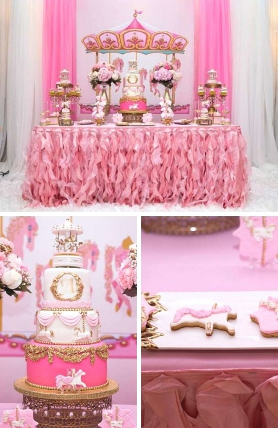 Carousel In Pink Baby Shower tablescape