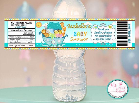 Noah's ark water bottle labels