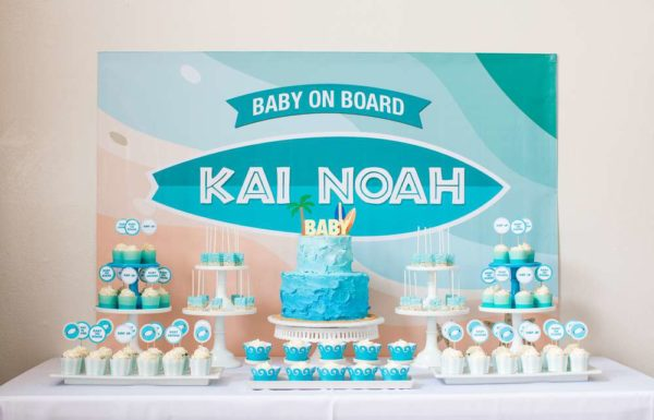 surfing-baby-on-board-shower-dessert-table