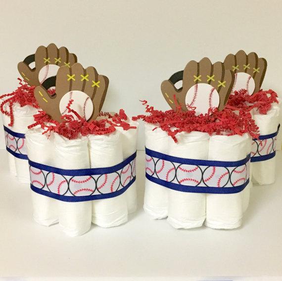 baseball baby shower diaper cake centerpiece